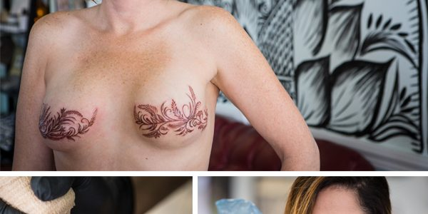 Top: New tattoos on Andrea Caron's surgically reconstructed breasts are echoed on the wall at 13 Moons Tattoo Studio in Portland. Bottom: Artist Mary Schmaling-Kearns tattoos over a free-handed henna design from earlier in the week. (Photos by Troy R. Bennett)