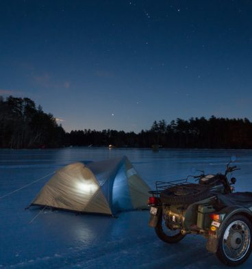 Stars shine in the eastern sky on Friday night in Limington above the ice on Horne Pond. I pitched my tent and stayed the night. (Photo by Troy R. Bennett)